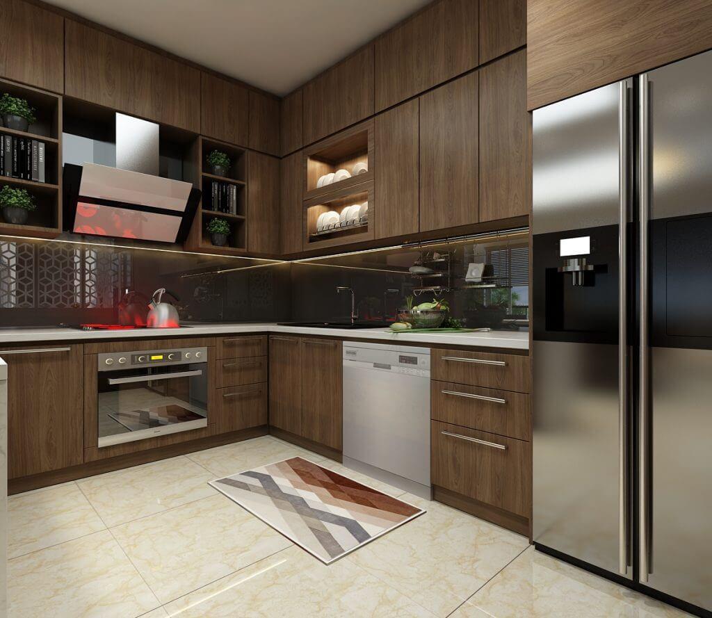 Mẫu thiết kế bếp chung cư có diện tích nhỏ mang phong cách hiện đại 3