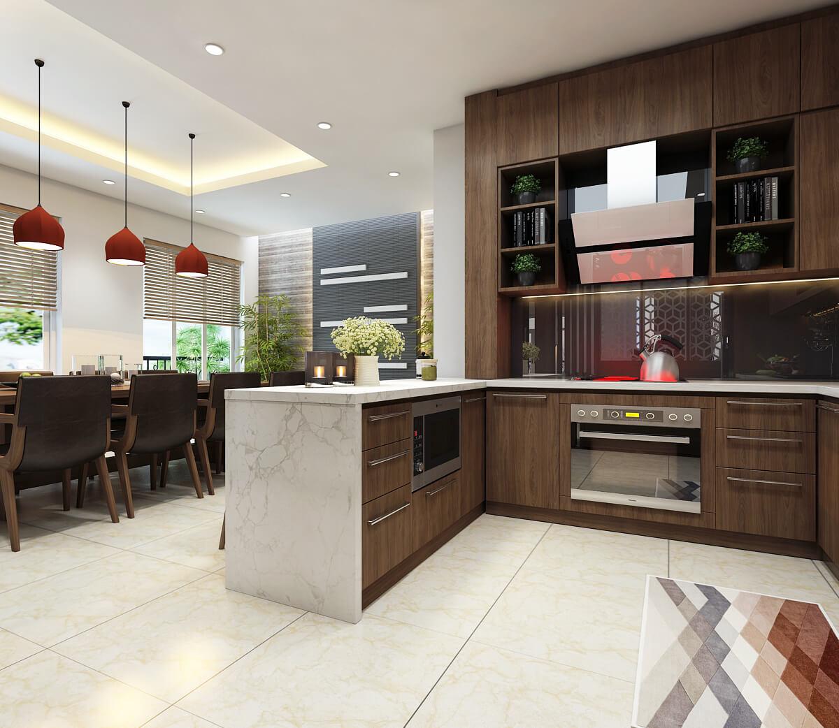 Mẫu thiết kế căn hộ chung cư đẹp theo gam màu nâu nổi bật