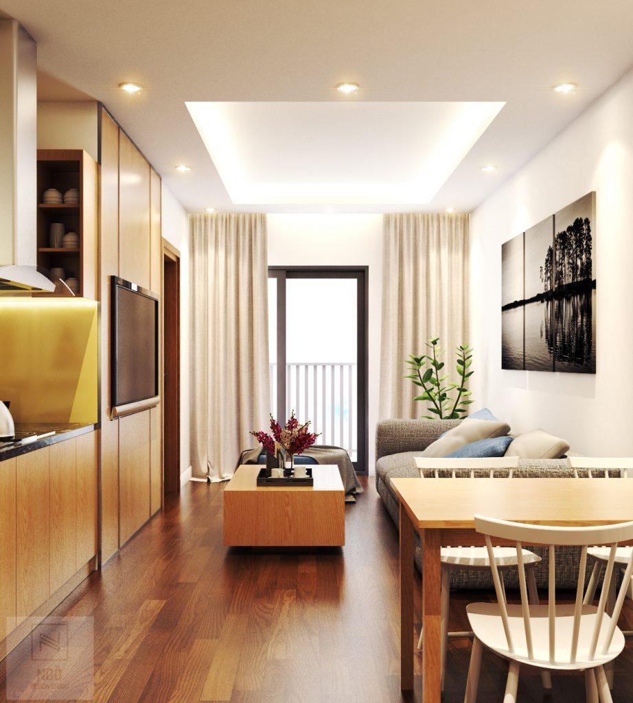 Thiết kế nội thất phòng khách chung cư nhỏ với phòng khách liền với ban công