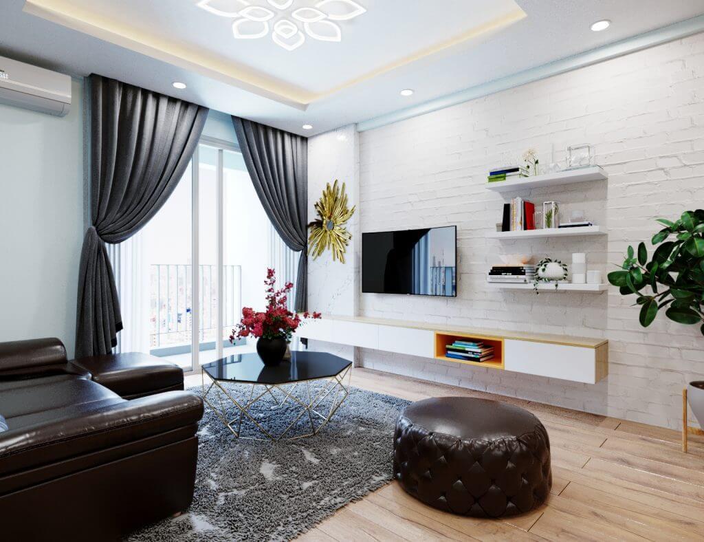 trang trí phòng khách hiện đại tối giản