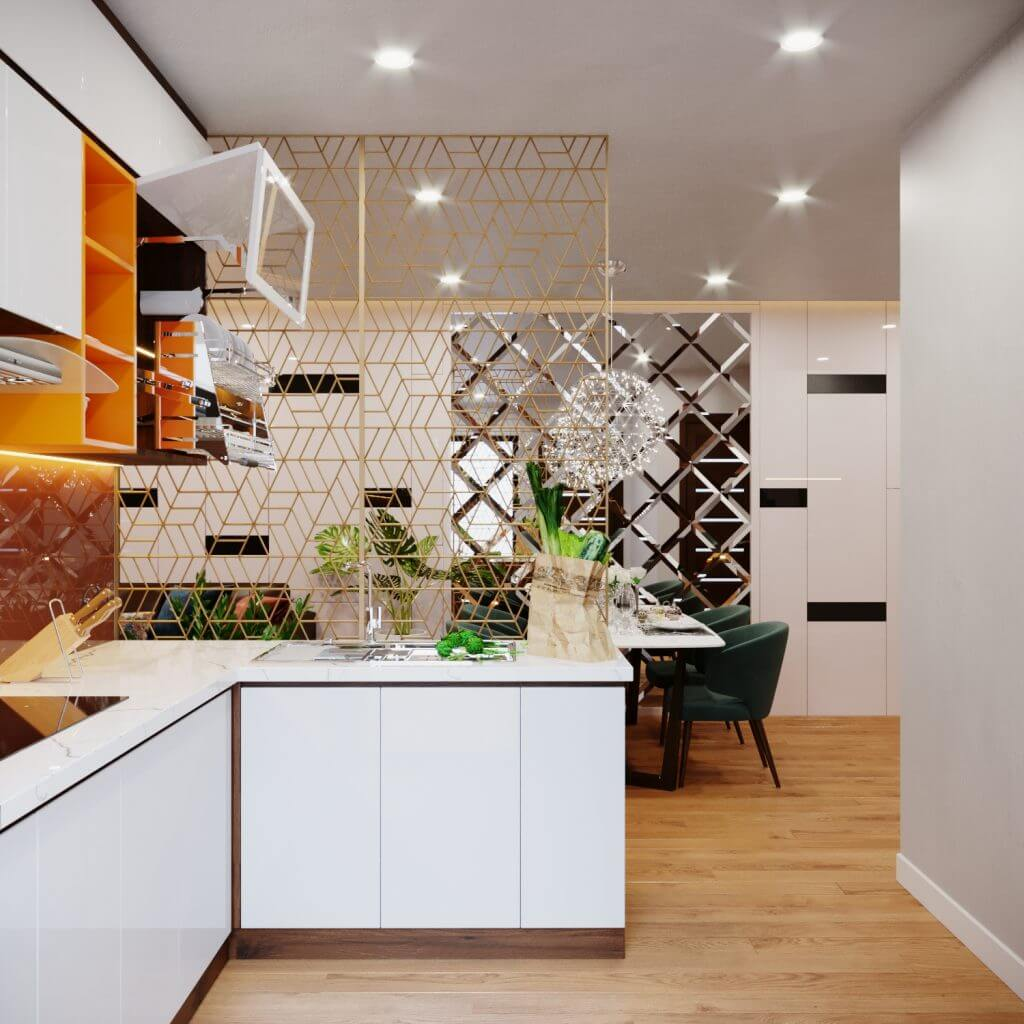 Căn bếp hiện đại với màu gỗ công nghiệp nâu sang trọng