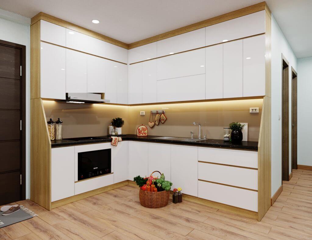 Mẫu thiết kế bếp chung cư có diện tích nhỏ mang phong cách hiện đại 2
