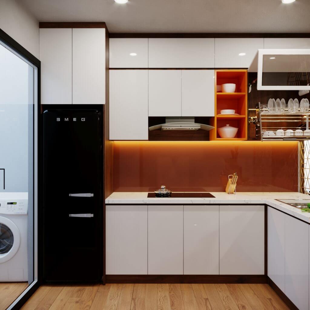 Mẫu tủ bếp gỗ công nghiệp phủ Acrylic bóng gương