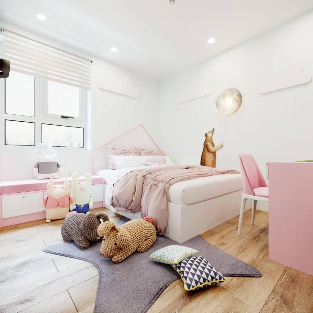 Phòng bé gái nội thất gỗ công nghiệp chung cư