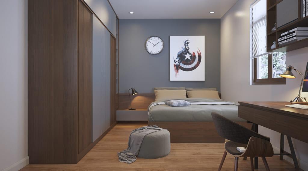Phòng ngủ sử dụng gỗ công nghiệp chung cư