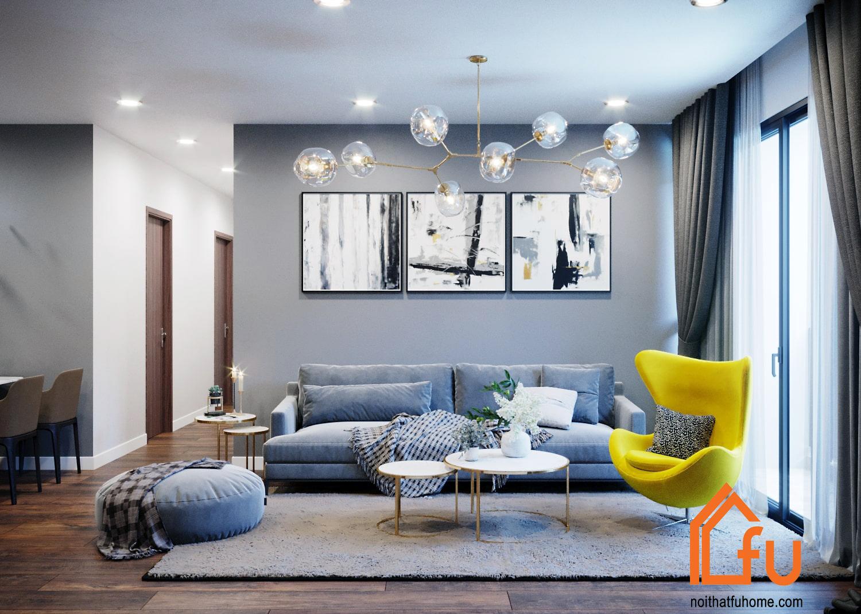Mẫu thiết kế phòng khách chung cư theo phong cách Scandinavina