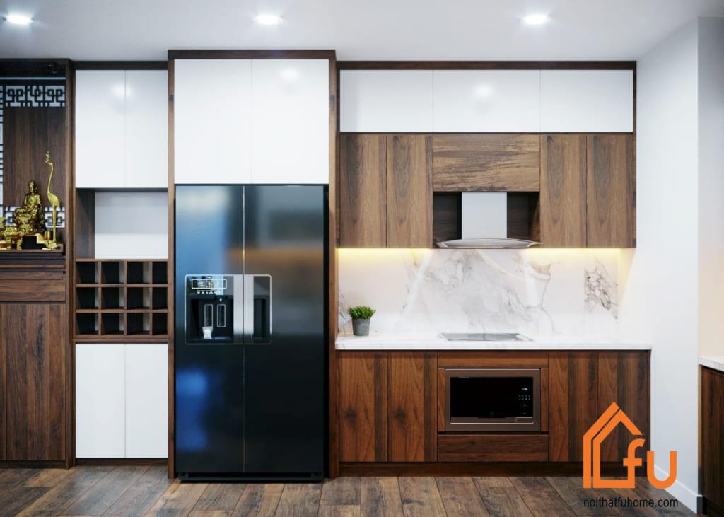 Tủ bếp gỗ phủ laminate là giải pháp chống trầy xước hiệu quả