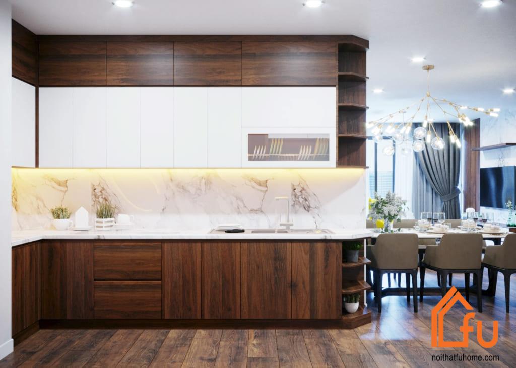 Khu bếp sang trọng nổi bật với nội thất gỗ công nghiệp màu trắng sáng