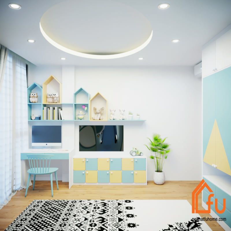 Phòng ngủ con trai với nội thất màu xanh