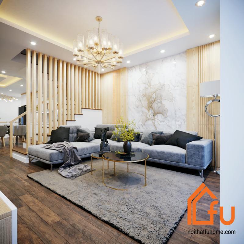 thiết kế thi công nội thất phòng khách kêt hợp màu gỗ tần bì
