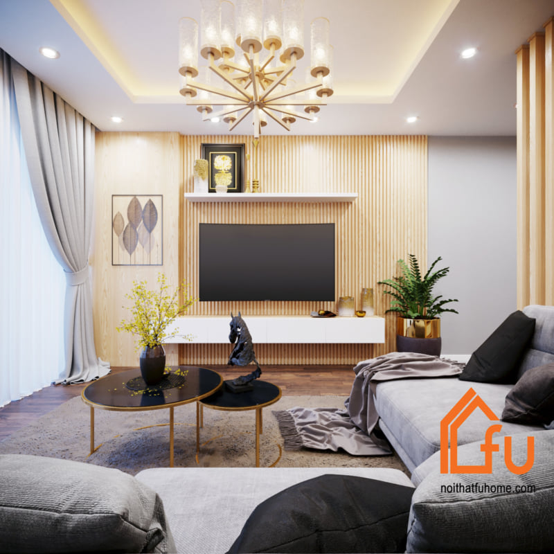 thiết kế thi công nội thất phòng khách khu vực kệ tivi