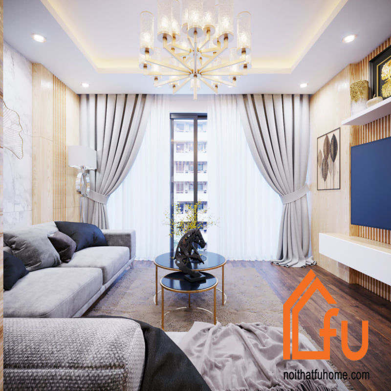 trang trí phòng khách hiện đại gam màu vàng