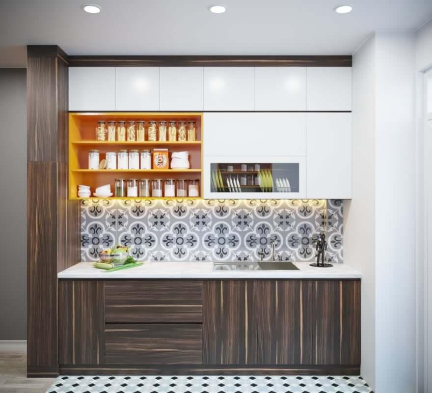 Nội thất gỗ công nghiệp dùng trong gian bếp