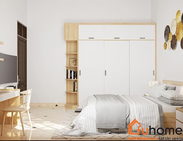 Tủ áo gỗ công nghiệp tạo không gian hiện đại cho phòng ngủ