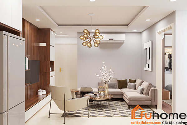 Thiết kế nội thất phòng khách chung cư nhỏ theo phong cách đơn giản