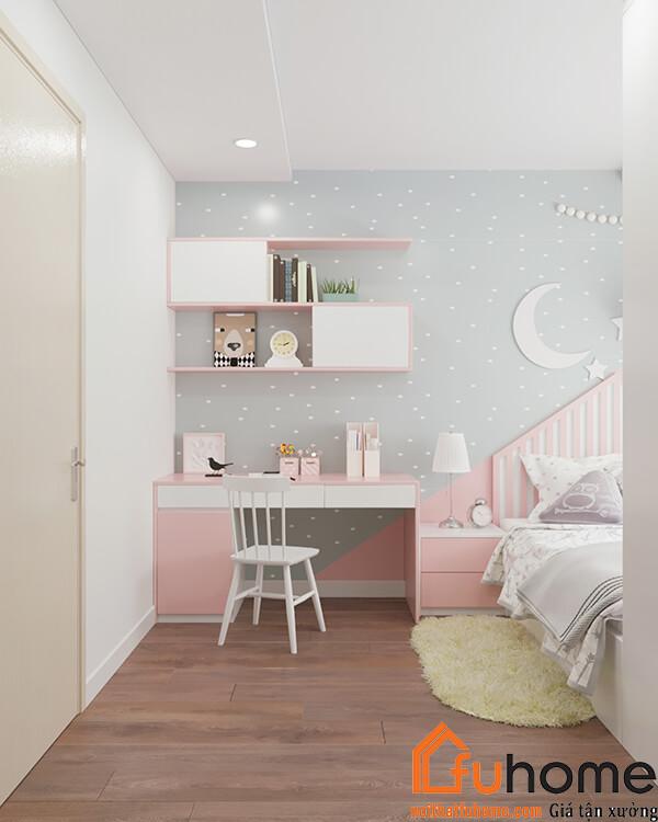 Bàn học gỗ công nghiệp được thiết kế trong phòng của trẻ