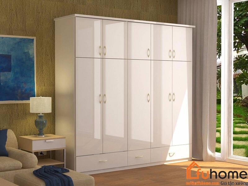 Tủ quần áo 4 buồng gỗ công nghiệp đơn giản tiện lợi cho mọi gia đình