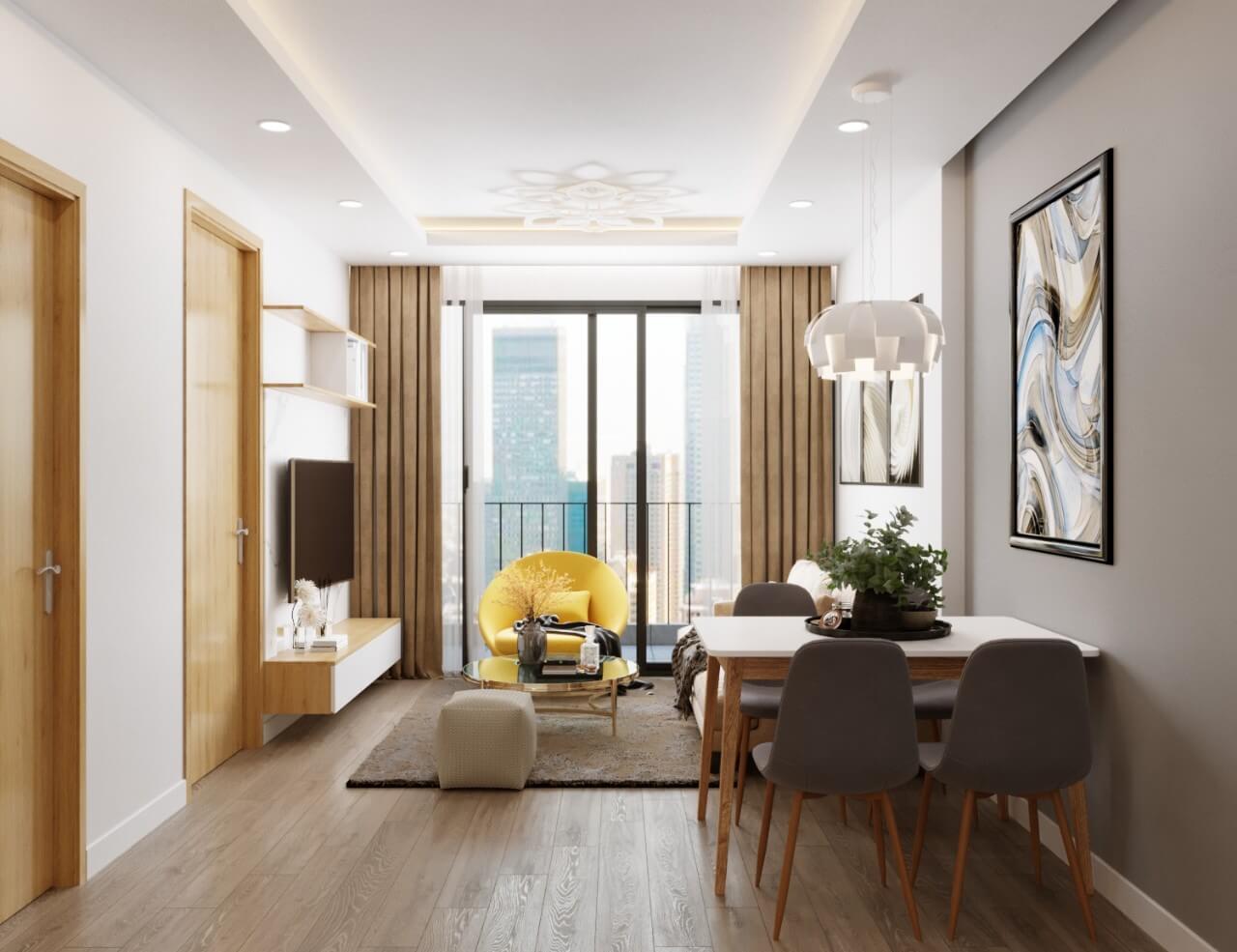 Một số mẫu thiết kế căn hộ chung cư 50m2 đẹp, tiện nghi 5