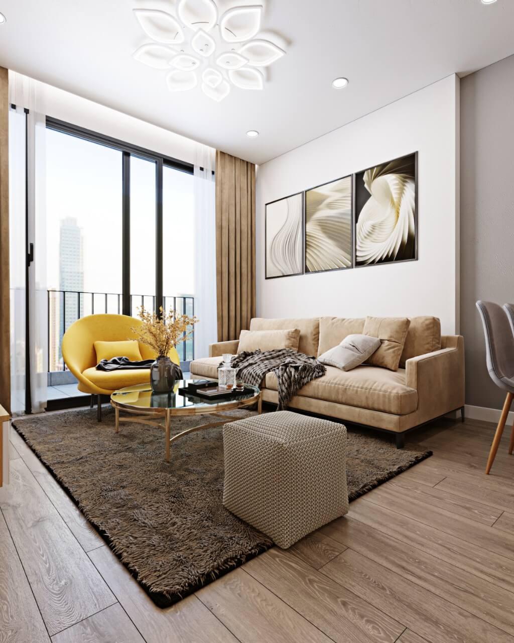 Một số mẫu thiết kế căn hộ chung cư 50m2 đẹp, tiện nghi 4