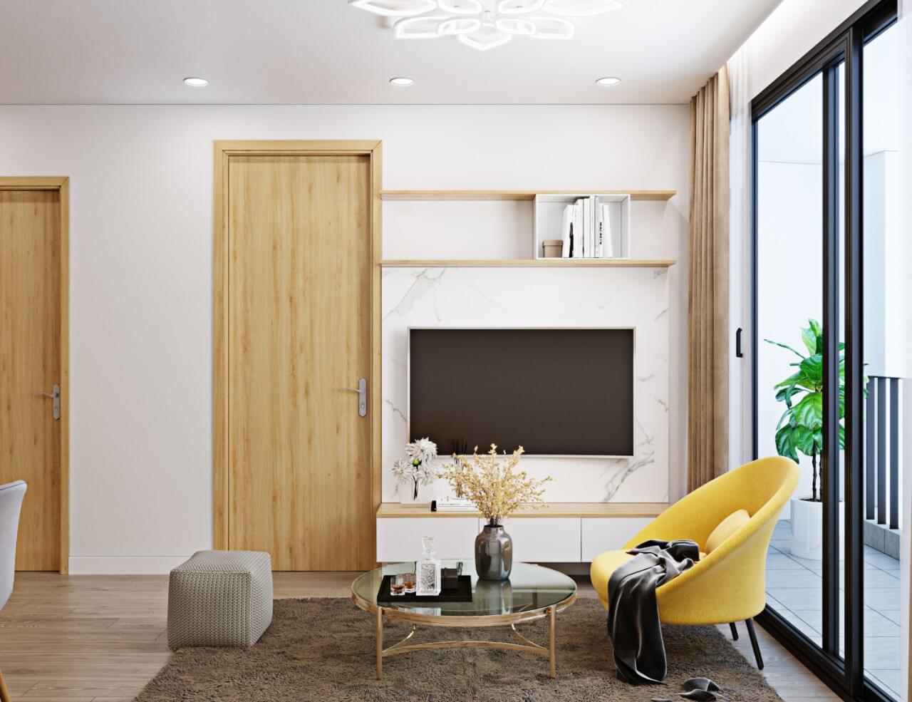 Thiết kế chung cư mini với phòng ngủ thông ngay với phòng khách 1