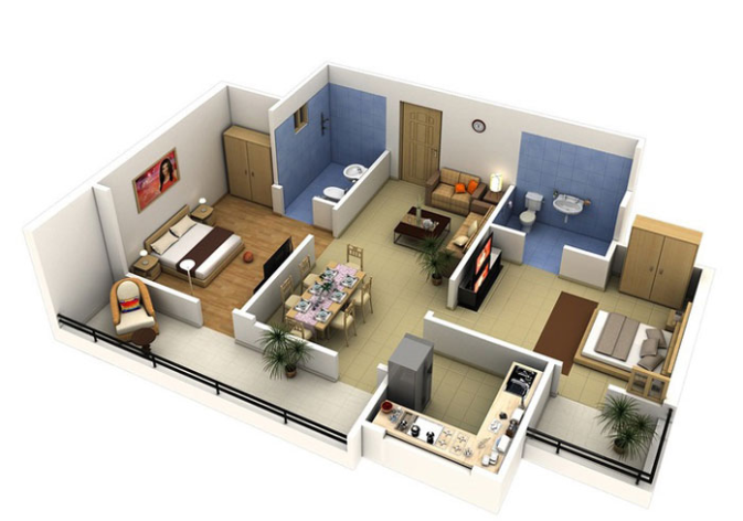 Một số mẫu thiết kế căn hộ chung cư 50m2 đẹp, tiện nghi 2