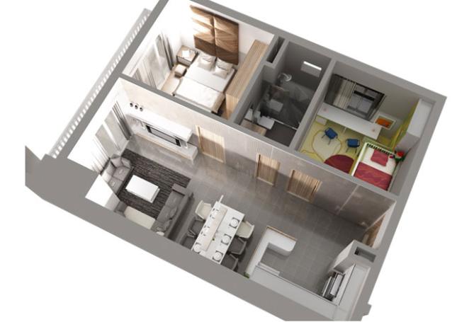 Một số mẫu thiết kế căn hộ chung cư 50m2 đẹp, tiện nghi 3