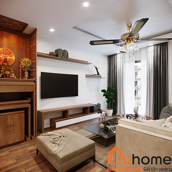 Thiết kế nội thất căn hộ chung cư 70m2 phong cách cổ điển