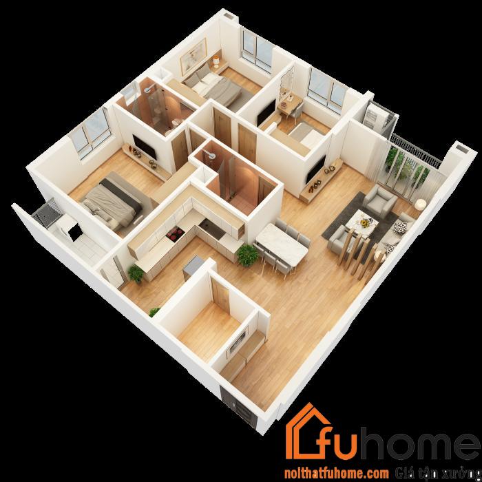 Mô hình thiết kế nội thất chung cư 3 phòng ngủ