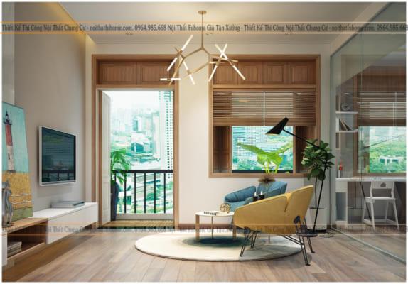 Thi công nội thất chung cư phòng khách có view đẹp cho cuộc sống thoải mái