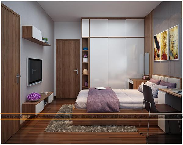 Phòng ngủ trong chung cư Eco Lake View 32 Đại Từ cho bố mẹ 2