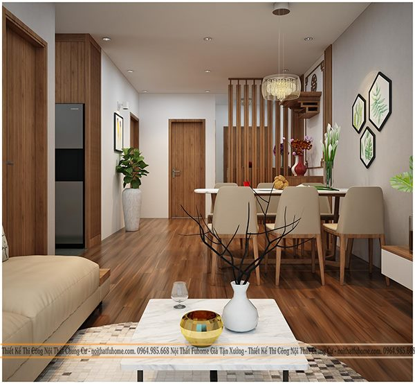 thiết kế nội thất phòng khách chung cư 70m2 phong cách đơn giản