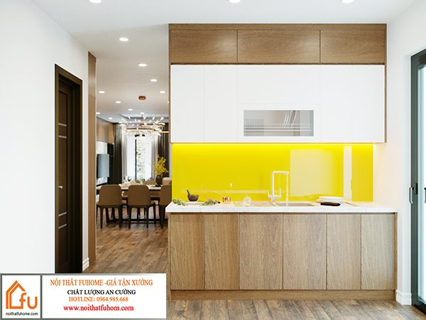 thiết kế phòng bếp nội thất phòng khách nhà anh chị nhung thắng 1