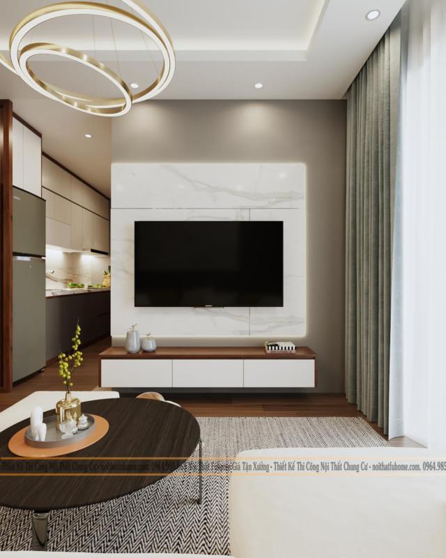 Thiết kế thi công nội thất chung cư 70m2 nhà chị Mai 2