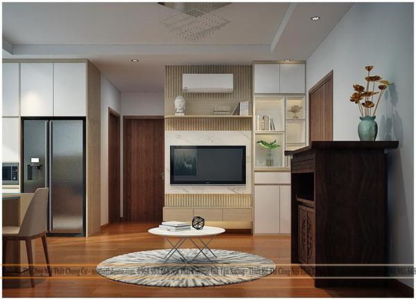 thi công thiết kế nội thất phòng khách nhà cấp 4