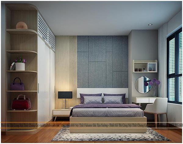 Thi công thiết kế nội thất phòng ngủ master nhà cô vân