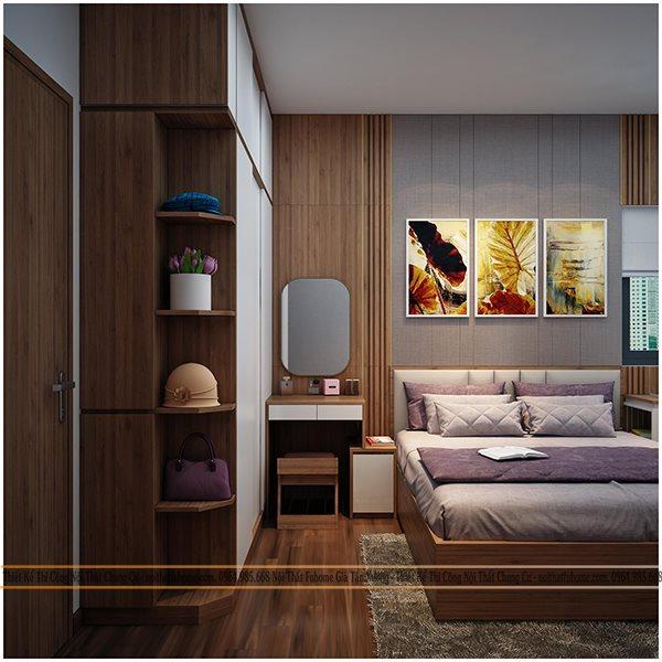 Phòng ngủ trong chung cư Eco Lake View 32 Đại Từ cho bố mẹ 3
