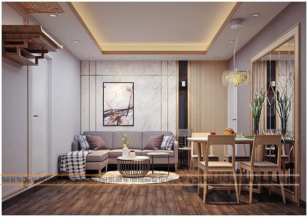Thiết kế nội thất phòng khách chung cư 70m2 đẹp, đủ tiện nghi