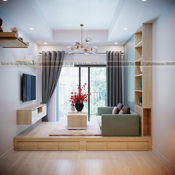 Thiết kế phòng khách chung cư đơn giản cho không gian đẹp và rộng rãi
