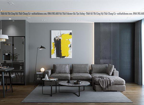 Phong cách thiết kê thi công nội thất phòng khách xu hướng tối giản với gam màu trầm