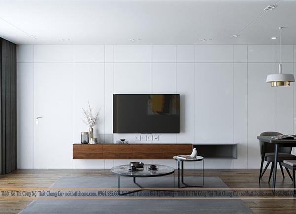 Thiết kế nội thất công trình nhà chị Giang ke ti vi 2