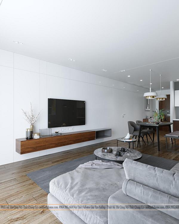 Thiết kế nội thất công trình nhà chị Giang kệ ti vi