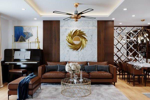 Phong thủy phòng khách chung cư phong cách tân cổ điển