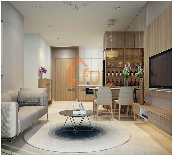 Thiết kế thi công nội thất căn hộ chị Khuyên phòng khách