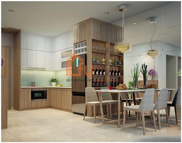 Thiết kế thi công nội thất căn hộ chị Khuyên phòng khách liền bếp 1