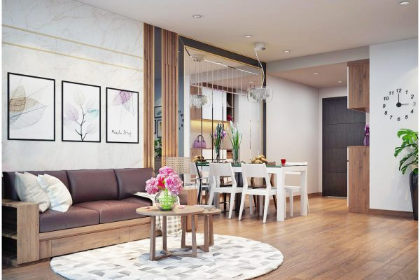 Hình ảnh thiết kế nội thất chung cư phòng khách không gian rộng 56 m2