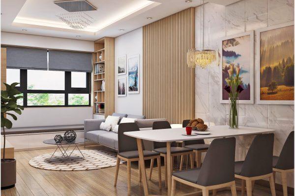 Hình ảnh thiết kế thi công nội thất chung cư phòng khách không gian rộng 70m2