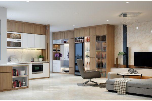 Hình ảnh thiết kế thi công nội thất chung cư phòng khách không gian rộng 120m2