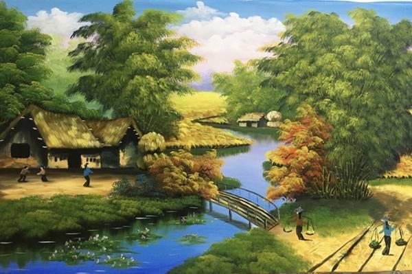 Một bức tranh phong thủy về đồng quê là sự lựa chọn hoàn hảo cho căn phòng khách người mệnh KIM